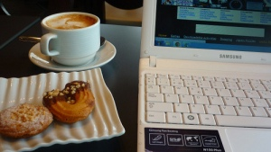 Coffee, a snack and the internet