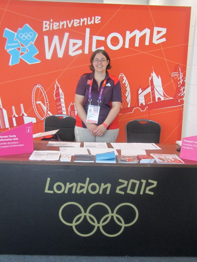 Sandy Millin working as a Games Maker at London 2012