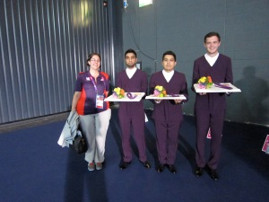 Me with the medal bearers, holding Dame Tessa Jowell's handbag while she got ready to present the flowers