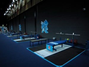 Powerlifting warm-up area (backstage)