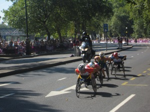 David Weir in the red helmet