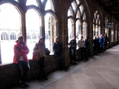 My class in the cloisters in Durham