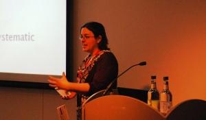 Sandy Millin presenting at IATEFL 2012 - photo by Mike Hogan