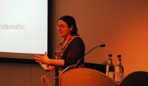 Sandy Millin presenting at IATEFL 2012 - photo by Mike Hogan