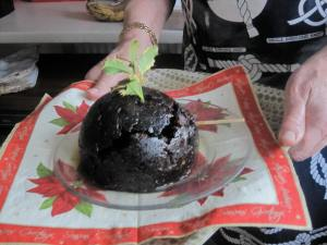 The Christmas pudding on fire (honest!)