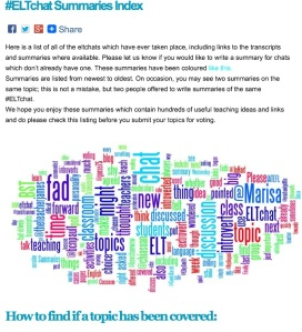 ELTchat summaries index word cloud