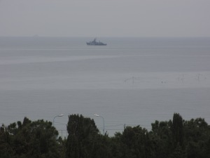 Military ship off the Sevastopol coast