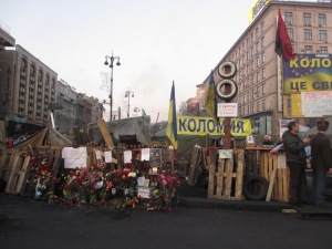 Flowers and barricades