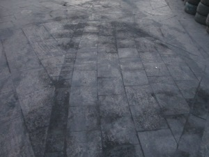 Ash covered the square