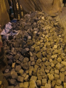 Paving stones which had been torn up