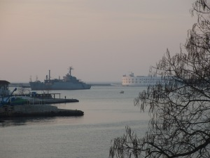 Ship in the mouth of Sevastopol bay