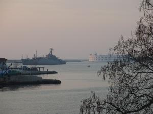 Ship in the mouth of Sevastopol bay