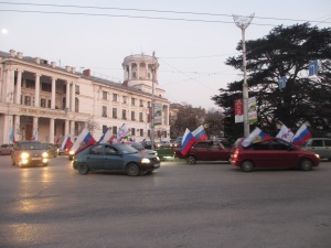 Cars flying Russian flags