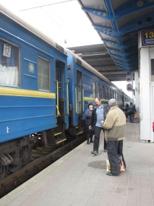 People boarding the Kiev to Sevastopol train, Tuesday 8th April 2014