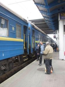 People boarding the Kiev to Sevastopol train, Tuesday 8th April 2014