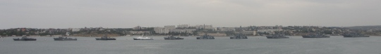 Ships lined up in Sevastopol bay