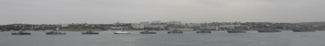 Ships lined up in Sevastopol bay