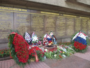 Flowers left near the memorial for the Second Defense of Sevastopol