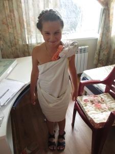 M dressed as a Roman