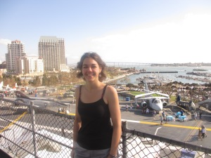 Sandy on the USS Midway aircraft carrier