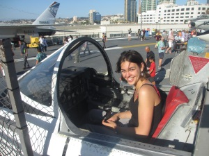 Me in a fighter plane on the USS Midway