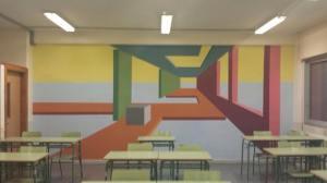 Abstract art on a classroom wall