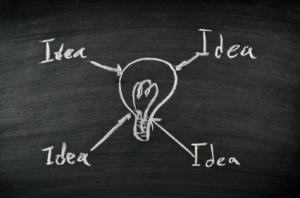 Idea and light bulb on blackboard