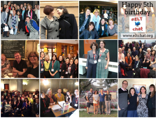 ELTchat birthday collage - showing images of many of the friends I've met through the Twitter chats