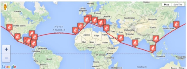 70th Peace Boat route map