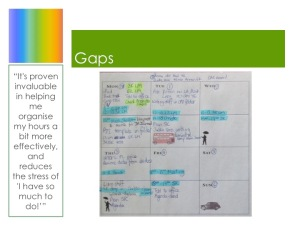 "Weekly planner showing gaps, plus a quote from a teacher using the weekly system: ""It's proven invaluable in helping me organise my hours a bit more effectively, and reduces the stress of 'I have so much to do!'"""