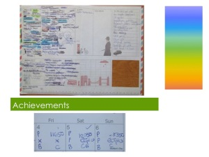 Achievements - showing a weekly planner at the end of a week, and notes made on my calendar
