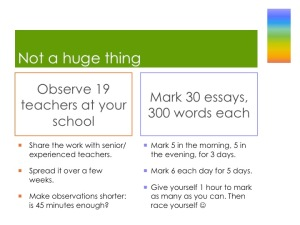 Two large tasks you might want to break down: observing 19 teachers are your school and marking 30 300-word essays
