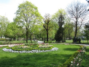 Park near the Philharmonia in the spring