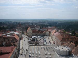 Znojmo, Czech Republic, with the roof of a communist department store in the foreground