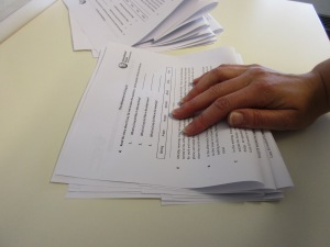 Folding piles of worksheets 3