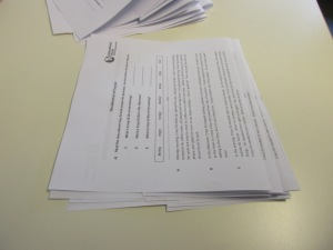 Folding piles of worksheets 4