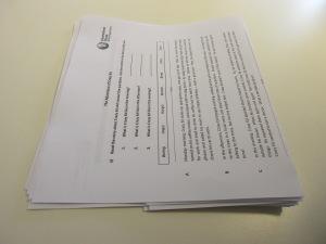 Folding piles of worksheets 5