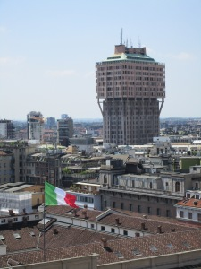 Torre Velasca, home of IH Milan, as seen from the roof of the Duomo