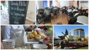 Aktobe collage - top left = blackboard with Sandy's name and dates of her visit, top right = teachers using Quizlet Live, bottom left = teapot and bowls, plus food, bottom right = Sheraton hotel and sculpture