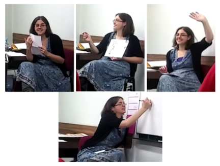 Four images of Sandy in class - two giving instructions, one with a hand up for silence, and one writing on the board