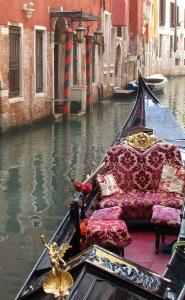 Venice - gondola and coloured entrance