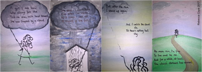 Four panels by Rebecca Cope: 1. A girl I once knew who always felt blue told me once with head bowed she was trapped by a cloud. 2. She said