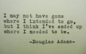 I may not have gone where I intended to go, but I think I've ended up where I needed to be. Douglas Adams