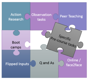 Jigsaw pieces with these things written on them: Action research, observation tasks, peer teaching, boot camps, flipped inputs, Q and As, online/face2face, specific pre-course tasks