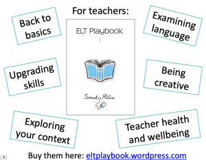 ELT Playbook 1 cover and topic areas: back to basics, examining language, upgrading skills, being creative, exploring your context, teacher health and wellbeing