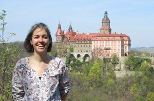 Sandy in front of Ksiaz Castle