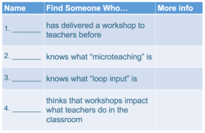 has delivered a workshop to teachers before, knows what 'microteaching' is, knows what 'loop input' is, thinks that workshops impact what teachers do in the classroom