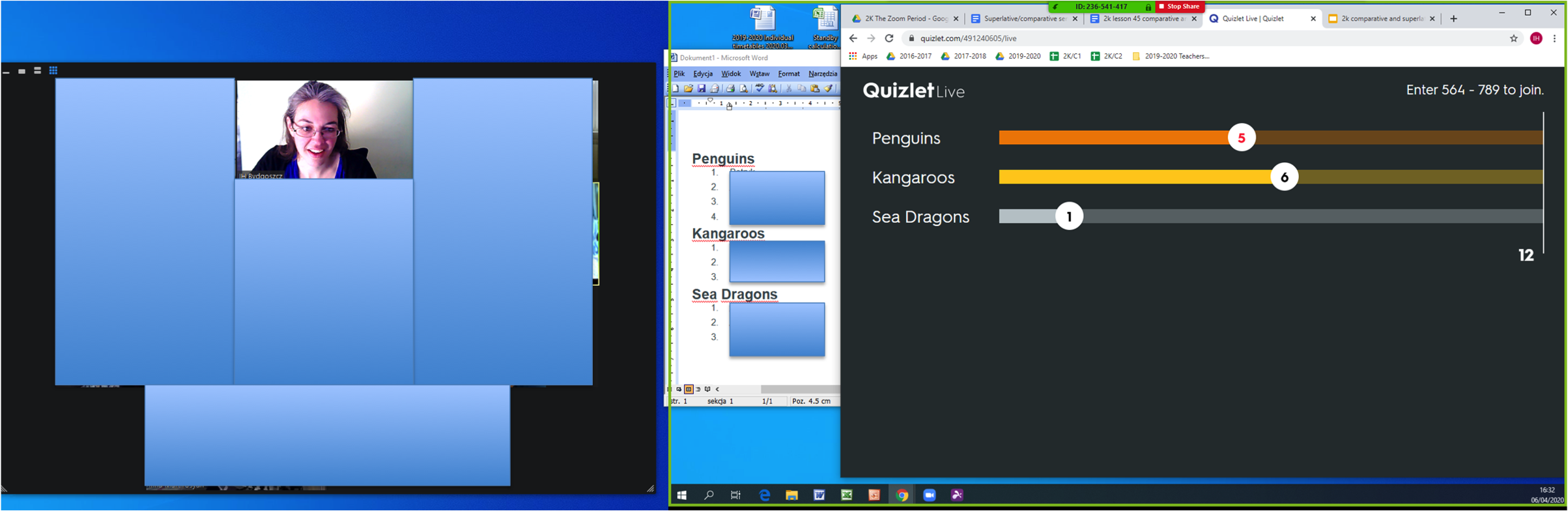 Quizlet Live on Zoom