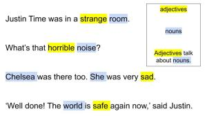 (Adjectives are yellow. The nouns they describe are blue.) Justin Time was in a strange room.   What's that horrible noise?   Chelsea was there too. She was very sad.   'Well done! The world is safe again now,' said Justin. (The next part is in a box) adjectives   nouns   Adjectives talk about nouns.