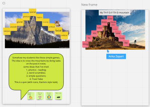 A series of post-it note pictures with challenges on them for students to complete - the notes follow the shape of the mountain